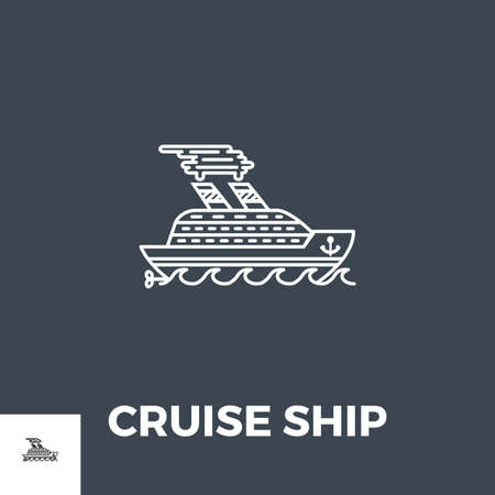 Illustration for Cruise Ship Icon Vector. - Royalty Free Image