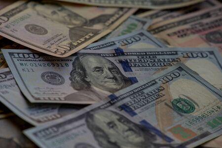 Photo pour dollars background. Dollars background. Background of different us dollar banknotes. Finance concept. - image libre de droit