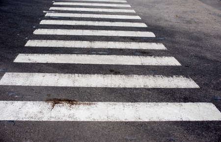 Photo for Zebra crosswalk on the road for safety when people walking cross the street. Crosswalk. - Royalty Free Image