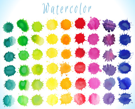 Colorful watercolor splashes isolated on white background.Vector illustration