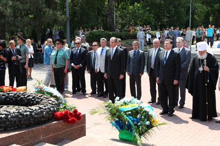 Odessa, Ukraine - April 6, 2011: Foreign Minister Russia Sergey Lavrov, official visit. Laying flowers at Eternal Flame, press conference. Minister Foreign Affairs of Ukraine Konstantin Gryshchenko