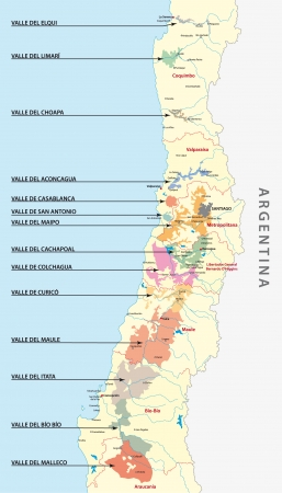 Chilean wine country map
