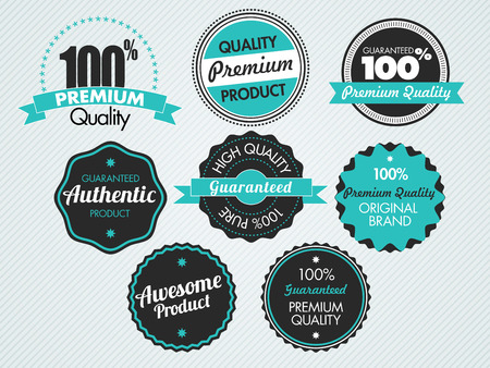 Ilustración de set of vintage sale and promotion badges, vector illustration - Imagen libre de derechos