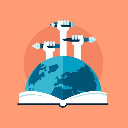 Illustration pour concept of global education, flat style - image libre de droit