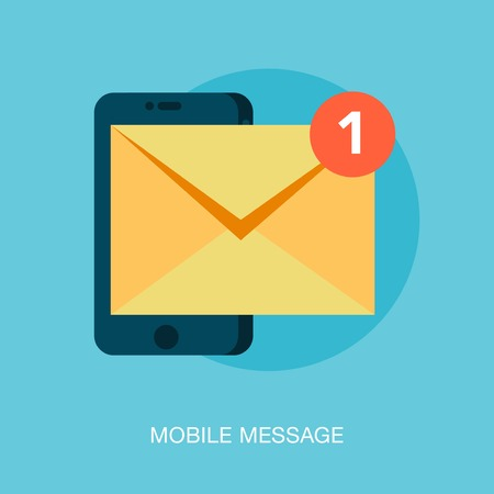 mobile phone receiving a new message, illustration
