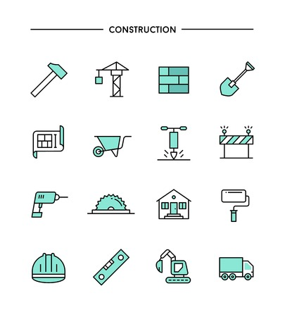 set of flat design, thin line construction icons, vector illustration