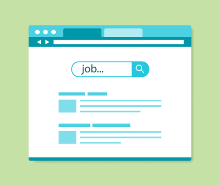 flat design online job search results, vector illustration