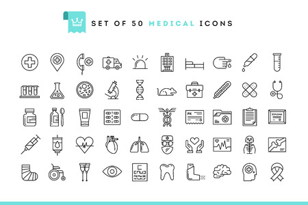 Ilustración de Set of 50 medical icons, thin line style, vector illustration - Imagen libre de derechos