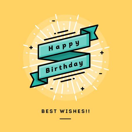 Ilustración de Happy birthday, flat design thin line banner, usage for e-mail newsletters, web banners, headers, blog posts, print and more - Imagen libre de derechos