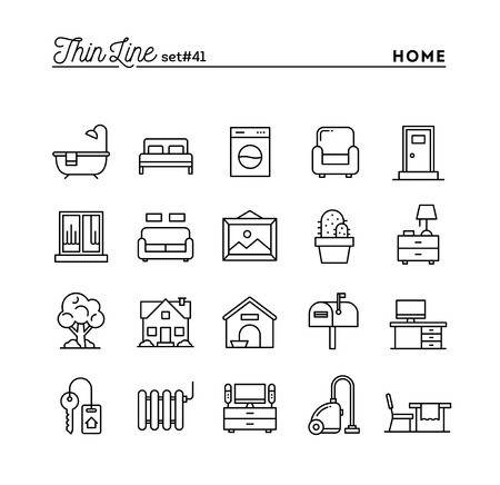 Illustration pour Home, interior, furniture and more, thin line icons set, vector illustration - image libre de droit