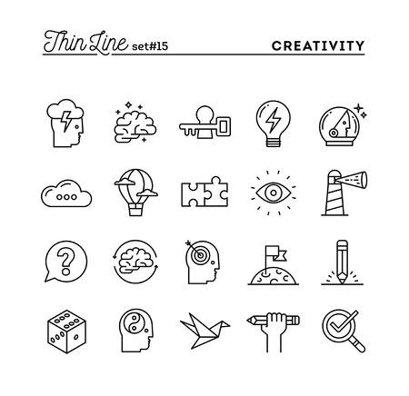 Illustration pour Creativity, imagination, problem solving, mind power and more, thin line icons set, vector illustration - image libre de droit
