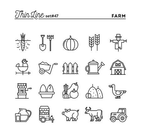 Illustration pour Farm, animals, land, food production and more, thin line icons set, vector illustration - image libre de droit