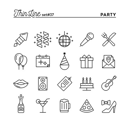 Party, celebration, fireworks, confetti and more, thin line icons set, vector illustration