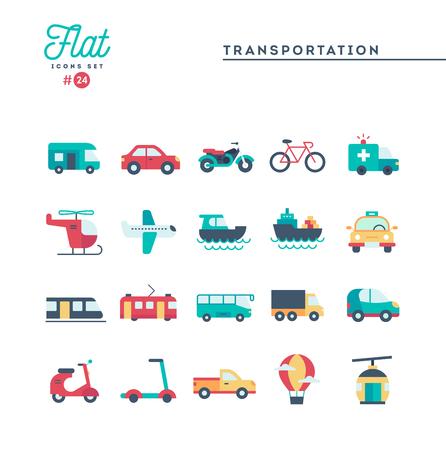Ilustración de Transportation and vehicles, flat icons set, vector illustration - Imagen libre de derechos