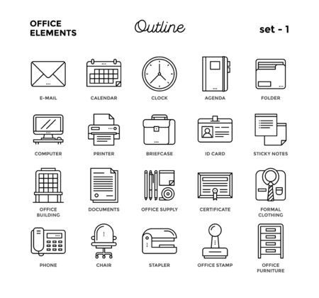 Illustration pour Office elements. Thin line style, icon set. - image libre de droit
