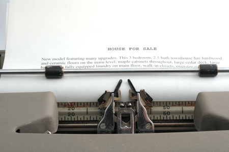 House Sales Ad typed on old typewriter