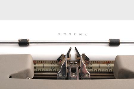 Resume typed on an old typewriter