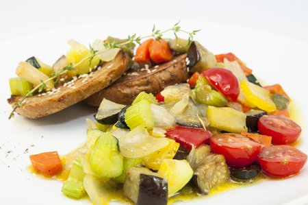 steamed vegetables and rye bread