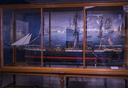 VIENNA, AUSTRIA - 24 AUGUST 2017: The technical museum in Vienna exhibits the production of exposition presents the ships and the history of shipbuilding in Austria.