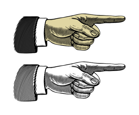 Hand with pointing finger  Vector illustration, isolated, grouped