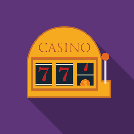 Flat design slot machine icon with long shadow