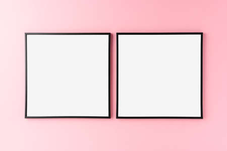 Photo for Mockup of two empty photo frames on pink background. Home decoration - Royalty Free Image