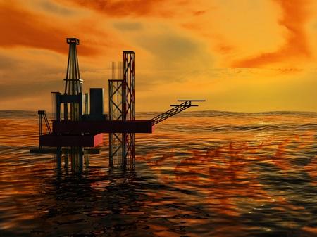 3d Oil Rig Silhouette, Ocean and Sunset, Orange Sky: Royalty