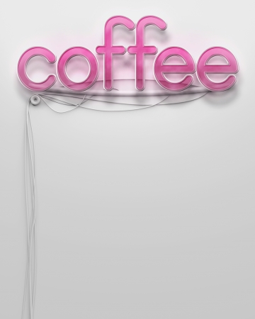 Glowing neon signboard with Coffee word and copyspace