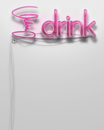 Glowing neon signboard with Drink word and copyspace