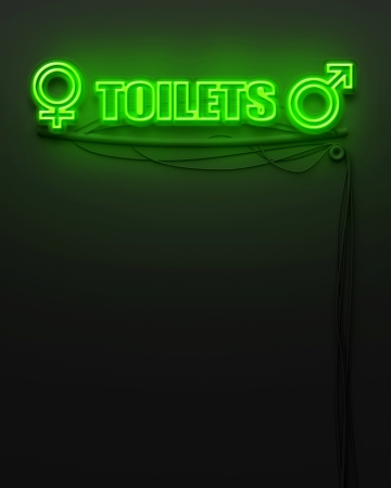 Neon glowing sign with word Toilet and copyspace