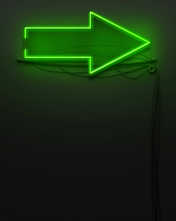 Neon glowing signboard with arrow sign and copyspace