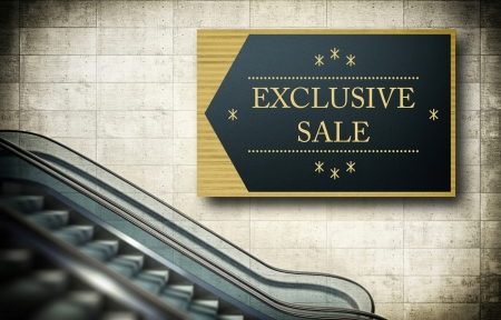 Moving escalator stairs with exclusive sale poster