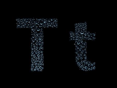 Photo pour Water drops alphabet letter t, isolated on black - image libre de droit