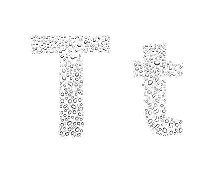 Photo pour Water drops alphabet letter t, isolated on white - image libre de droit