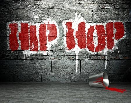 Graffiti wall with hip hop, street art background