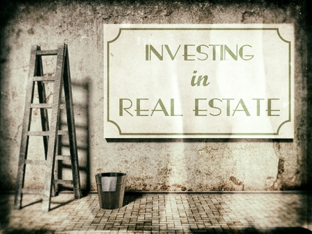 Investing in real estate on wall in vintage style
