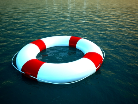3d life ring floating on water, help symbol