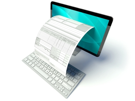 Photo pour Desktop computer screen with tax form or invoice - image libre de droit