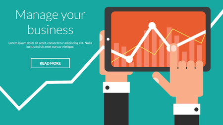Business tablet computer with stock chart as a app. Vector concept for online advertising