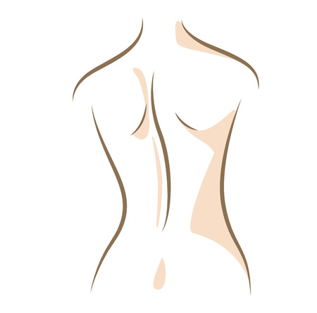 Close up woman back, drawn in vector lines