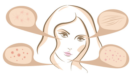 Woman face concept of anti aging procedures on skin, vector line sketch