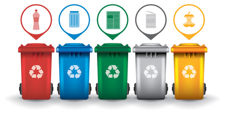 Colorful recycle trash bins with garbage icons, vector set