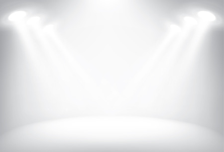Illustration for Illuminated stage with scenic lights, vector background - Royalty Free Image