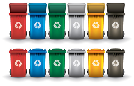 Illustration pour Colorful recycle trash bins open and closed isolated white, vector set - image libre de droit
