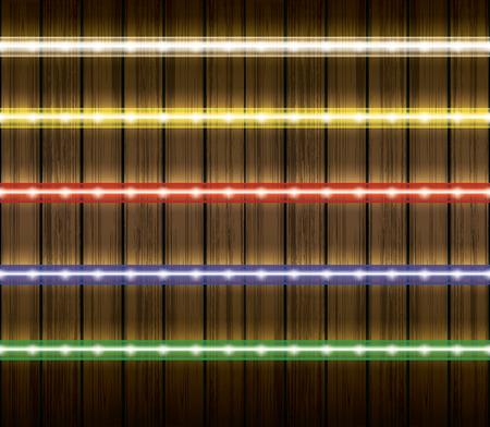 Colorful led light stripes illustration set