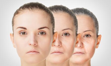 Foto de Aging process, rejuvenation anti-aging skin procedures old and young concept - Imagen libre de derechos