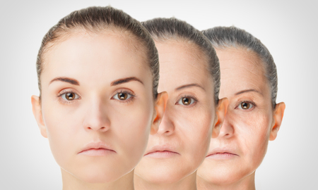 Aging process, rejuvenation anti-aging skin procedures old and young conceptの写真素材