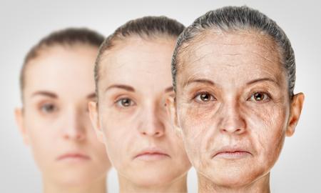 Foto de Aging process, rejuvenation anti-aging skin procedures. Old and young concept - Imagen libre de derechos