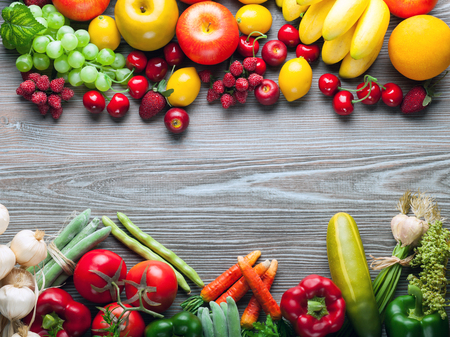 Foto für Fresh mixed fruits and vegetables on wooden board, concept of healthy eating and diet - Lizenzfreies Bild