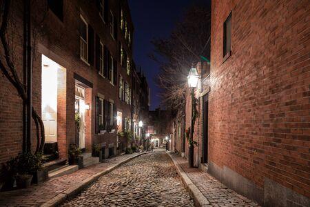 Photo pour A Christmas Night in Boston - image libre de droit